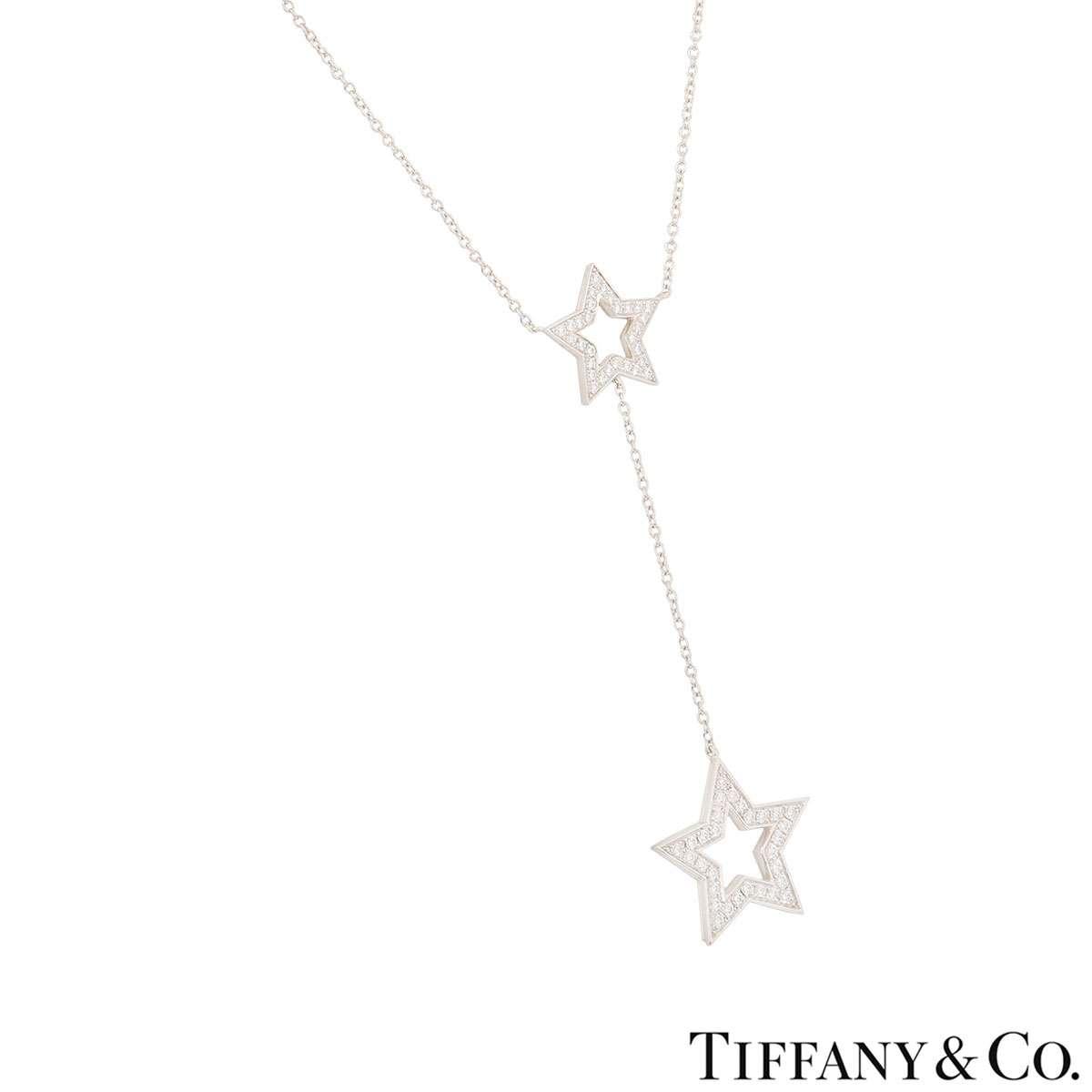 Tiffany & Co. Platinum Diamond Set Star Necklace